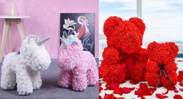 Oso de rosas 40cm y Unicornios de flores foam 40cm