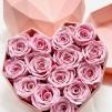 14 Rosas Rosa eternas en caja corazón de color blanco. Rosas de tacto natural y primera calidad.