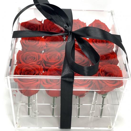 16 rosas rojas en caja acrilica