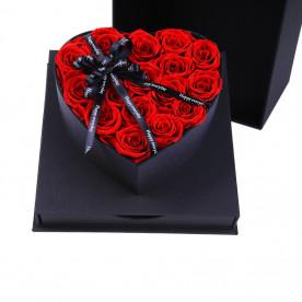 ROSAS PRESERVADAS ROJAS con caja de regalo negra.