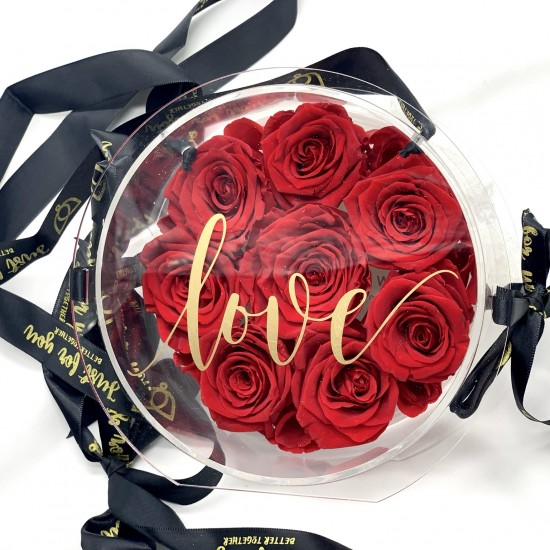 Rosas rojas en bolso acrílico muy original