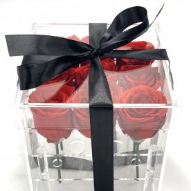 9 rosas en caja acrilica