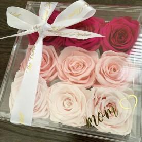 9 rosas Mamá en caja acrilica