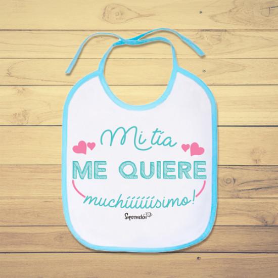 Babero de bebé personalizado con frase dedicada a las tías