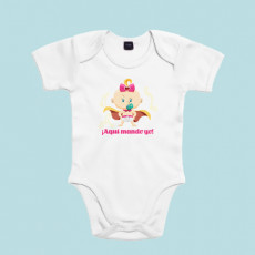 """Body de manga corta/larga de bebé 100% algodón con frase """"Aquí mando yo"""""""