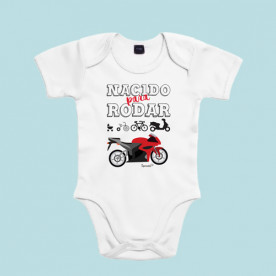 Divertido body de bebé de manga corta/larga 100% algodón, ideal para padres moteros.