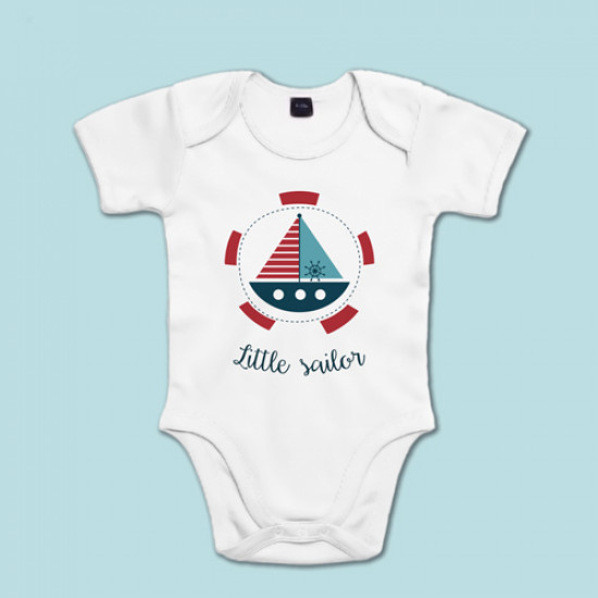"""Body marinero de manga corta/larga de bebé 100% algodón con frase """"Little Sailor"""""""