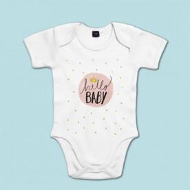 """Body de manga corta/larga de bebé 100% algodón con frase """"Hola bebé"""""""
