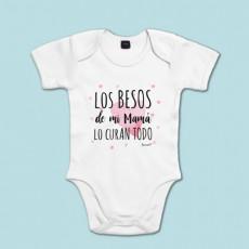 Body manga corta/larga 100% algodón de bebé porque mamá lo cura todo con sus besos