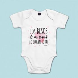 Body manga corta 100% algodón de bebé porque mamá lo cura todo con sus besos
