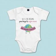 Body manga corta/larga 100% algodón de bebé para decirle a mamá que es la mejor de todas