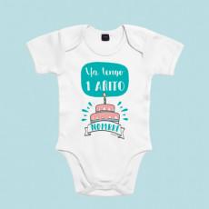 Body bebé divertido de manga corta/larga 100% algodón, para su primer añito. Añadir nombre en observaciones.