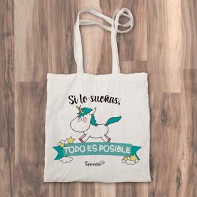"Bolso de tela ""tote bag"" con mensaje animoso"