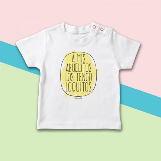 Camiseta Beb A Mis Abuelitos Los Tengo Loquitos