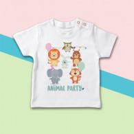 Camiseta para bebé con dibujo de fiesta animal original de manga corta