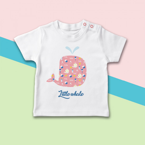 Camiseta para bebé con dibujo de ballena original de manga corta