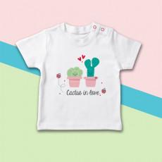 Camiseta para bebé con dibujo de cactus enamorados original de manga corta
