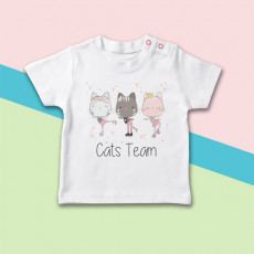 Camiseta para bebé de manga corta con dibujo de equipo de gatitas patinadoras