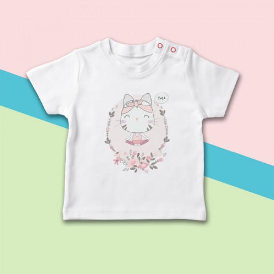 Camiseta manga corta de bebé con dibujo de gatita haciendo Yoga