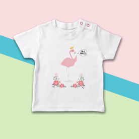Camiseta para bebé con dibujo de flamenco princesa