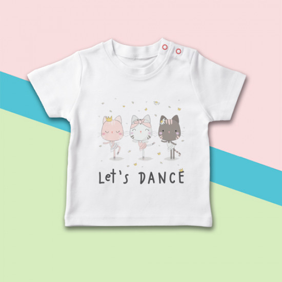 Camiseta para bebé de manga corta con dibujo de gatitas bailarinas