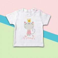 Camiseta para bebé de manga corta con dibujo de gatita y su corona de princesa