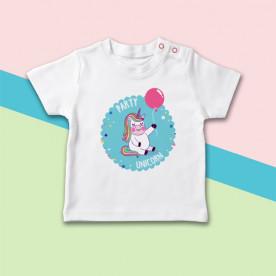 Camiseta manga corta de bebé con dibujo de unicornio molón