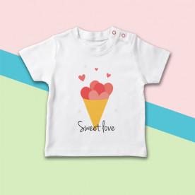 Camiseta manga corta de bebé con dibujo de helado de cucurucho con corazones