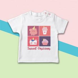 Camiseta manga corta de bebé con dibujo de unicornios dulces