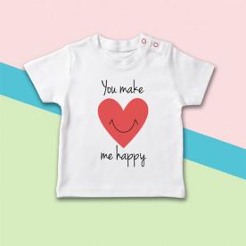 Camiseta de bebé de manga corta con dibujo de corazón sonriente