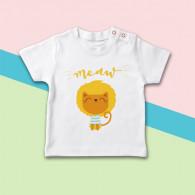Camiseta para bebé de manga corta con dibujo de león gatuno