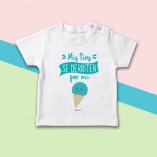 Camiseta para bebé con dibujo de helado y frase original para tíos que se derriten por sus sobrinos.