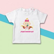 Camiseta para bebé niña de manga corta con dibujo de súper héroe