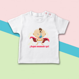Camiseta para bebé niño de manga corta con dibujo de súper héroe