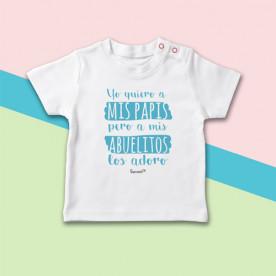 Camiseta manga corta de bebé con frase divertida y original, especial para los abuelos