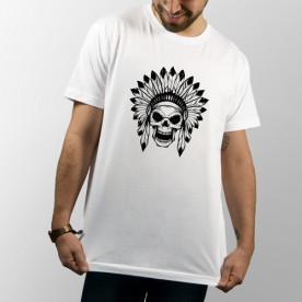 Camiseta para chico y chica de manga corta y de color blanco con dibujo de calavera india