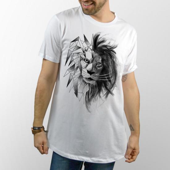 Camiseta unisex blanca manga corta para chico y chica, modelo básico y extra largo con dibujo de León