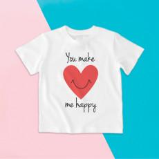 Camiseta para niña y niño de manga corta con corazón sonriente