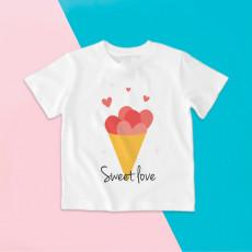 Camiseta para niño y niña de manga corta con diseño de helado de cucurucho con corazones