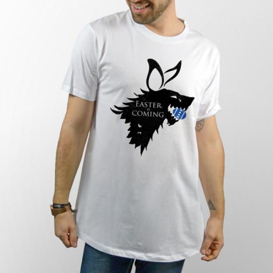 Camiseta para chica y chico de manga corta con frase divertida de Juego de Tronos, winter is coming pero de Pascua
