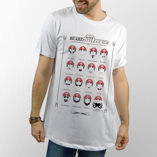 Camiseta unisex blanca de manga corta con guia de los estilos de barba de Mario Bros.