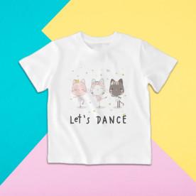 Camiseta para niña de manga corta con dibujo de gatitas bailarinas