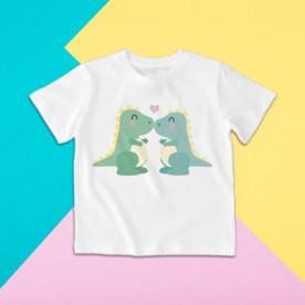 Camiseta para niña y niño de manga corta con dibujo de dinosaurios enamorados