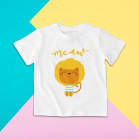 Camiseta para niño y niña de manga corta con dibujo de león gatuno