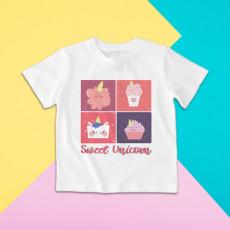 Camiseta para niño y niña de manga corta con diseño dulce de unicornios