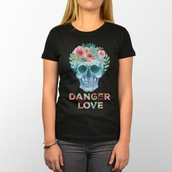 Camiseta para chica de manga corta con dibujo de calavera con flores