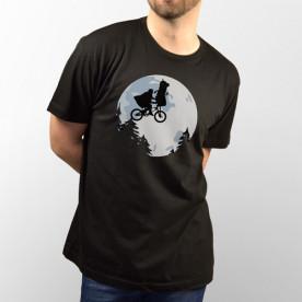 Camiseta negra unisex silueta de un Minion como en la pelicula de E.T