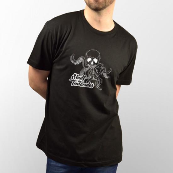 Camiseta para chico y chica de manga corta y de color negro con dibujo de calavera con tentáculos