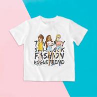 Camiseta para niña de manga corta con diseño de niñas fashion