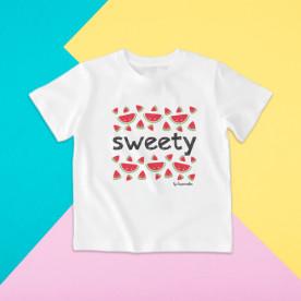 Camiseta para niño y para niña de manga corta con dibujo de melones muy muy dulces